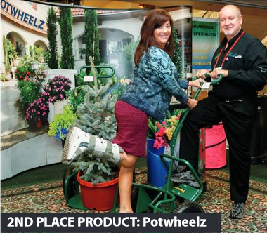 A favorite among Independent Garden Center Show-goers, the Potwheelz Garden Dolly from Potwheelz of Gulf Breeze, FL, won the Best New Product second-place award. Christina and Verne Hilt developed the idea for the ergonomic hand truck after recognizing the need for one in the market.